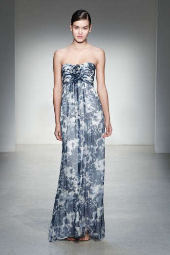 navy printed bridesmaids dress