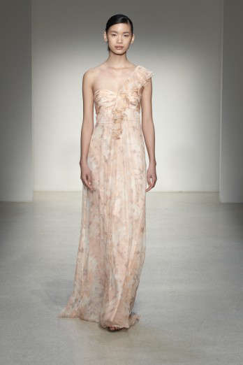 blush soft pink printed bridesmaids dress