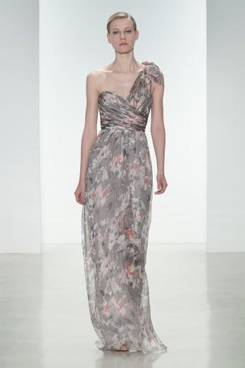 grey printed bridesmaids dress
