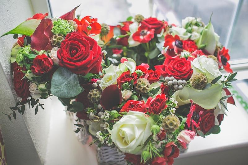 red flowers Irish welsh wedding