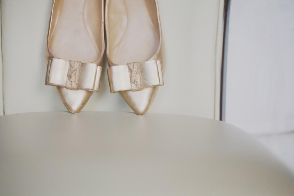 gold ballet flats shoes