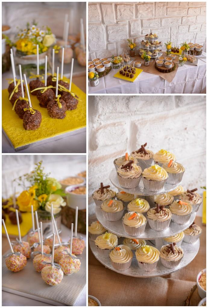 bright yellow wedding dessert table