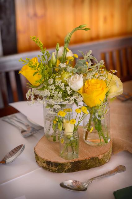 flowers on wood slices