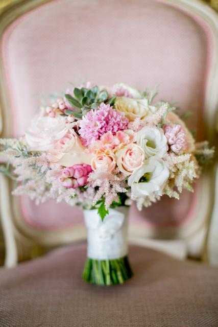 Pink grey blush succulent bridal bouquet
