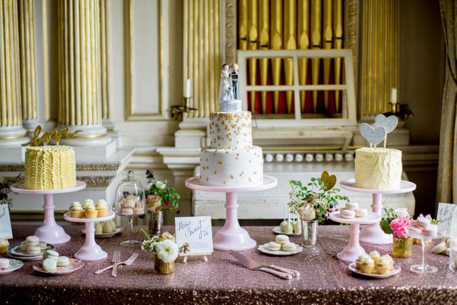 gold, pink sparkling wedding dessert table