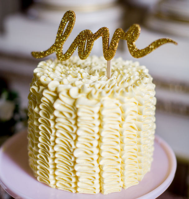 yellow ruffle cake sparkling love cake topper