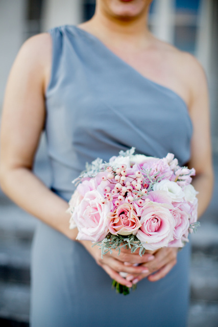 Pink, blush grey bouquet pink berries