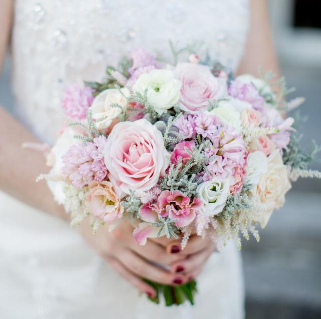 rose, ranunculus blush grey pink brides bouquet
