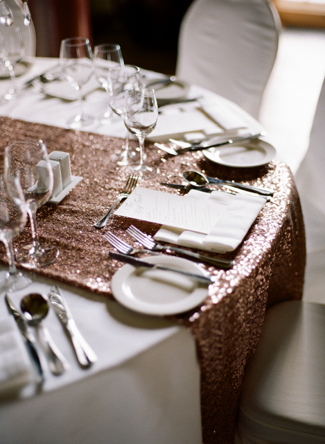 Pink sparkle table runner