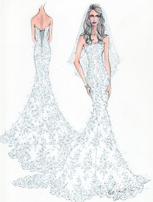 wedding dress sketch custom