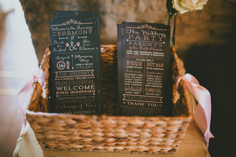 chalkboard style wedding program