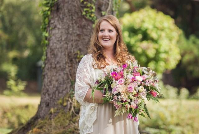 full loose wild bridal bouquet pink yellow purple