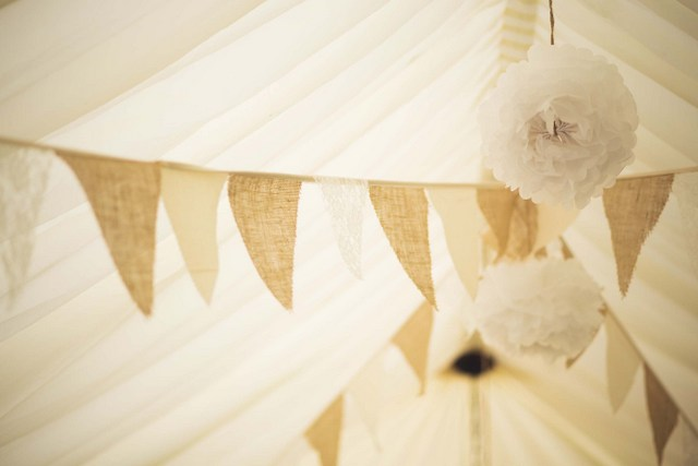 burlap and lace banner wedding