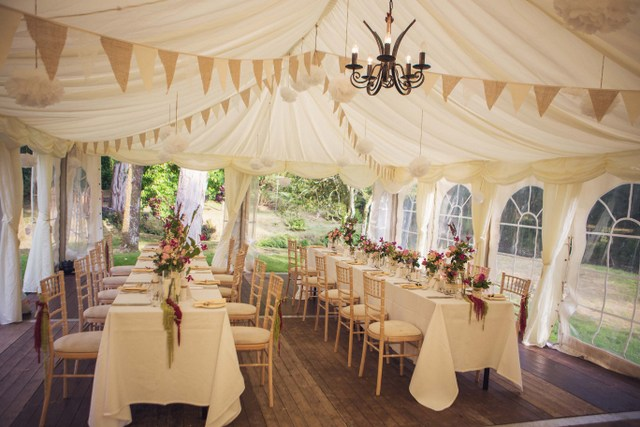 Intimate wedding marquee wedding tent decor
