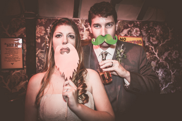 Castle wedding false moustaches