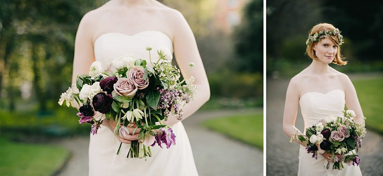 plum purple lavender green wedding bouquet