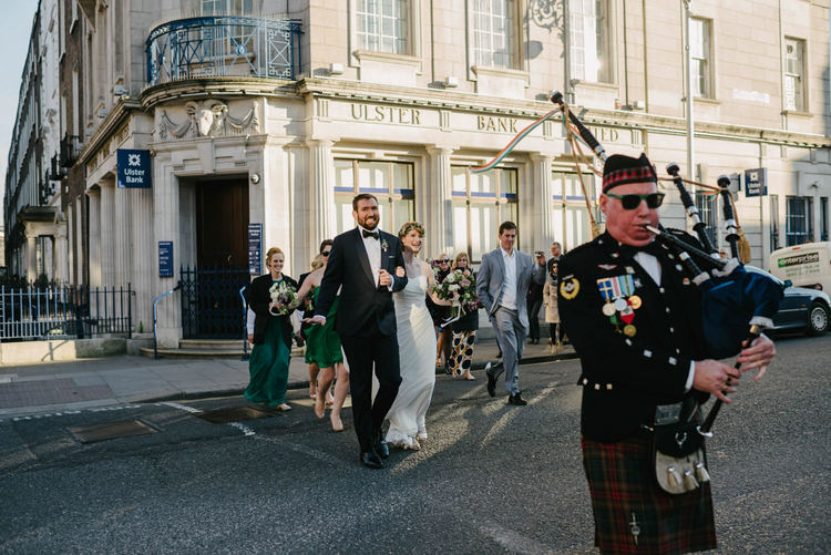 Piper leads bride and groom