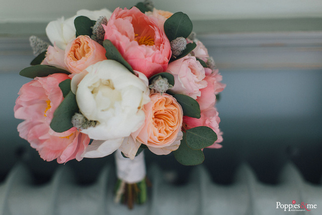 peach coral white peonies david austin rose bouquet