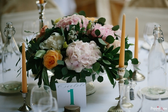 soft pink peach and teal wedding table