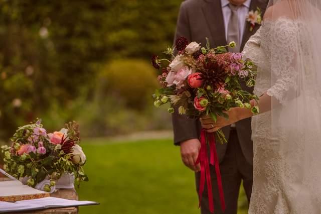 plum peach burgundy coral wedding flowers wild unstructured wedding flowers