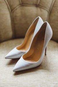 classic white wedding pumps Elegant White flowers and Yellow billy balls flowers - UP the Disney movie