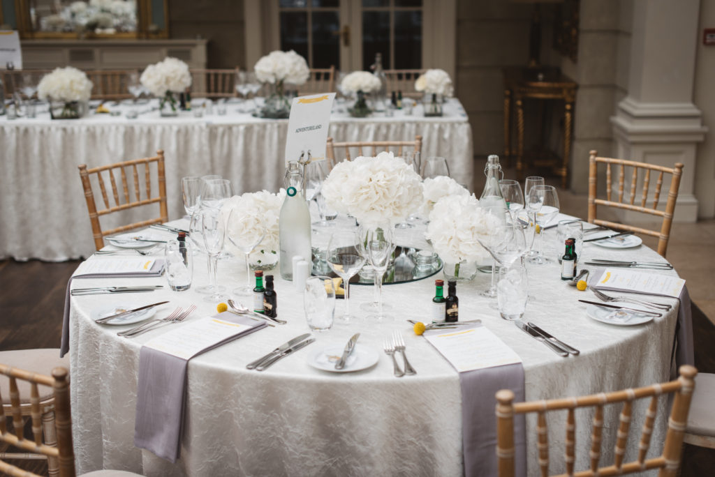 white, gray grey and yellow wedding table