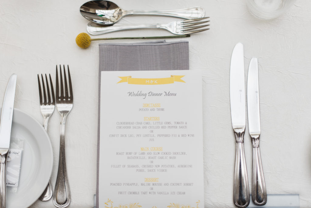 yellow and gray grey wedding menus
