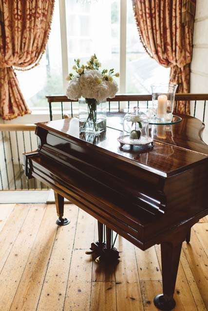Elegant White flowers and Yellow billy balls flowers - UP the Disney movie aislinn events piano with flowers