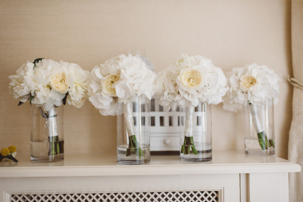 white hydrangea and David Austin rose bouquets bride's bouquet