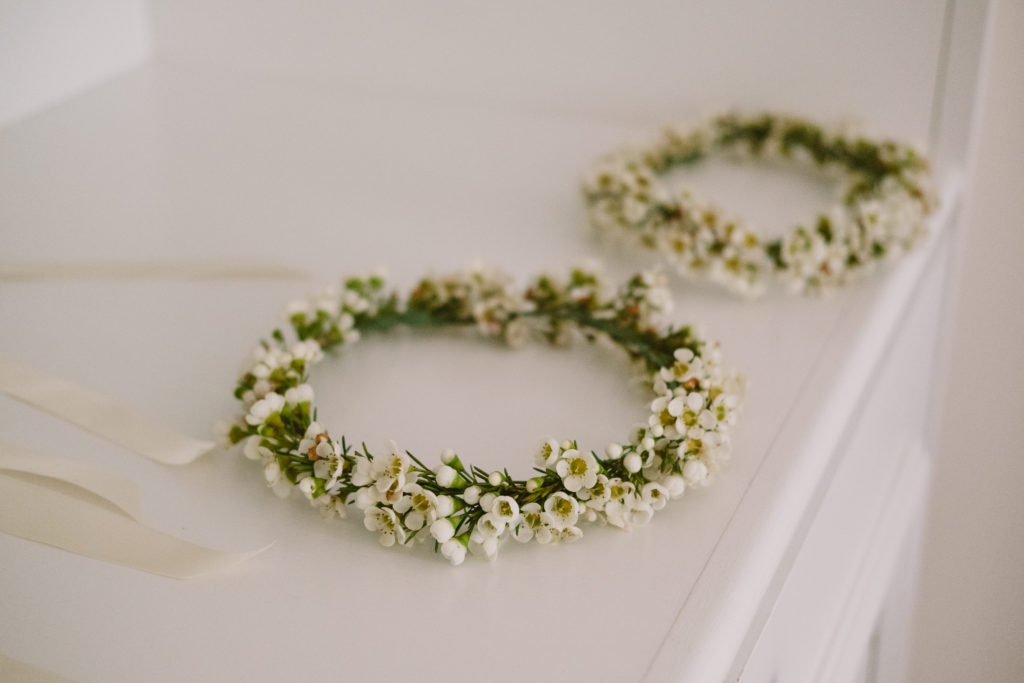 Flower girl head wreath wedding