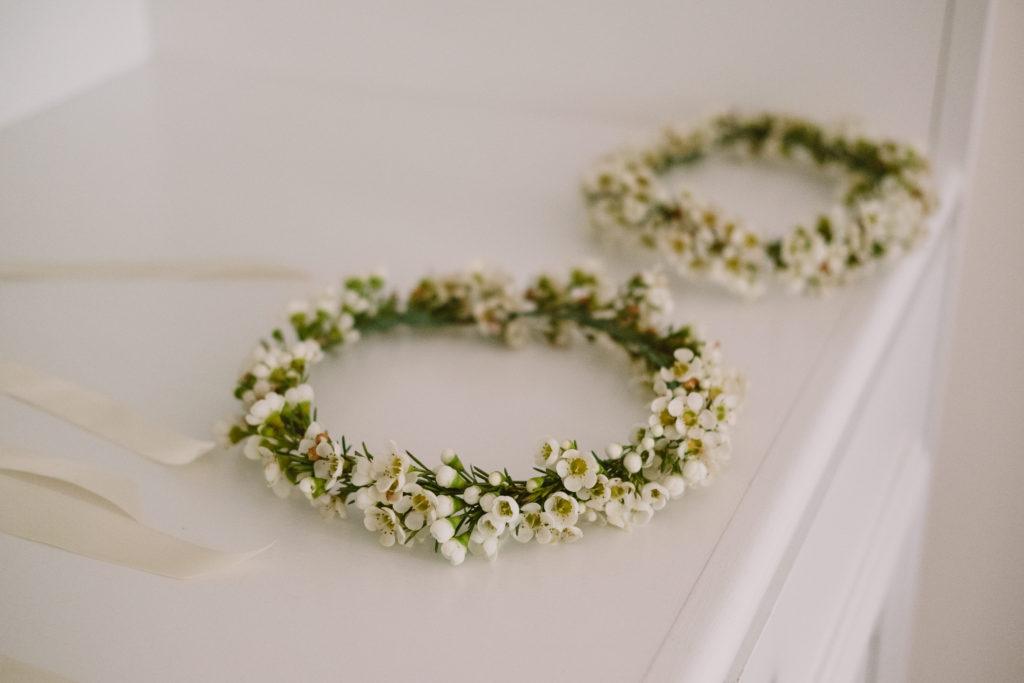 Flower girl head wreath wedding