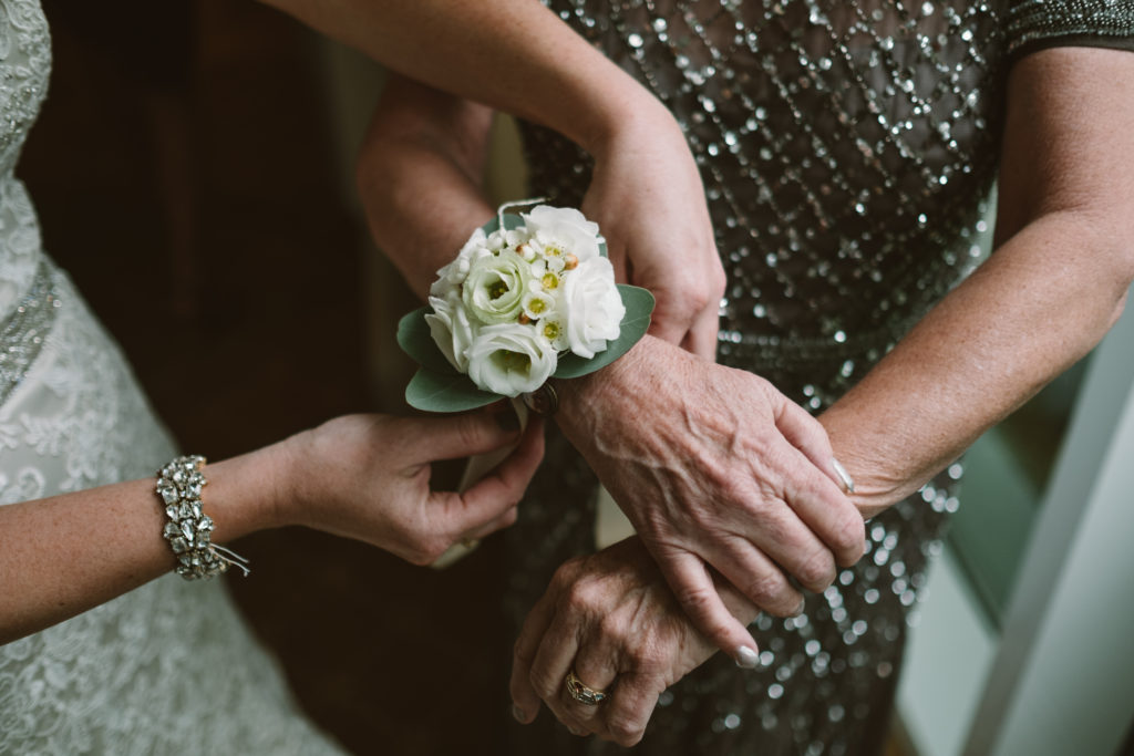 wedding mother's wrist corsage