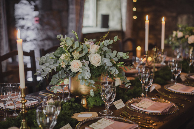 fairy tale Irish castle destination wedding blush and gold table scape