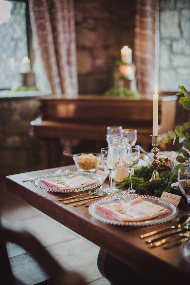 fairy tale wedding table scape Irish castle destination wedding