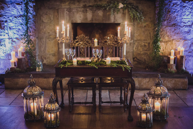 fairy tale Irish castle destination wedding romantic sweet heart table