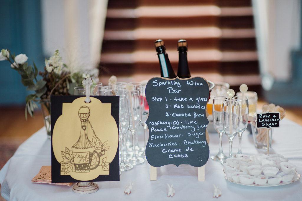 sparkling wine bar Destination wedding ireland