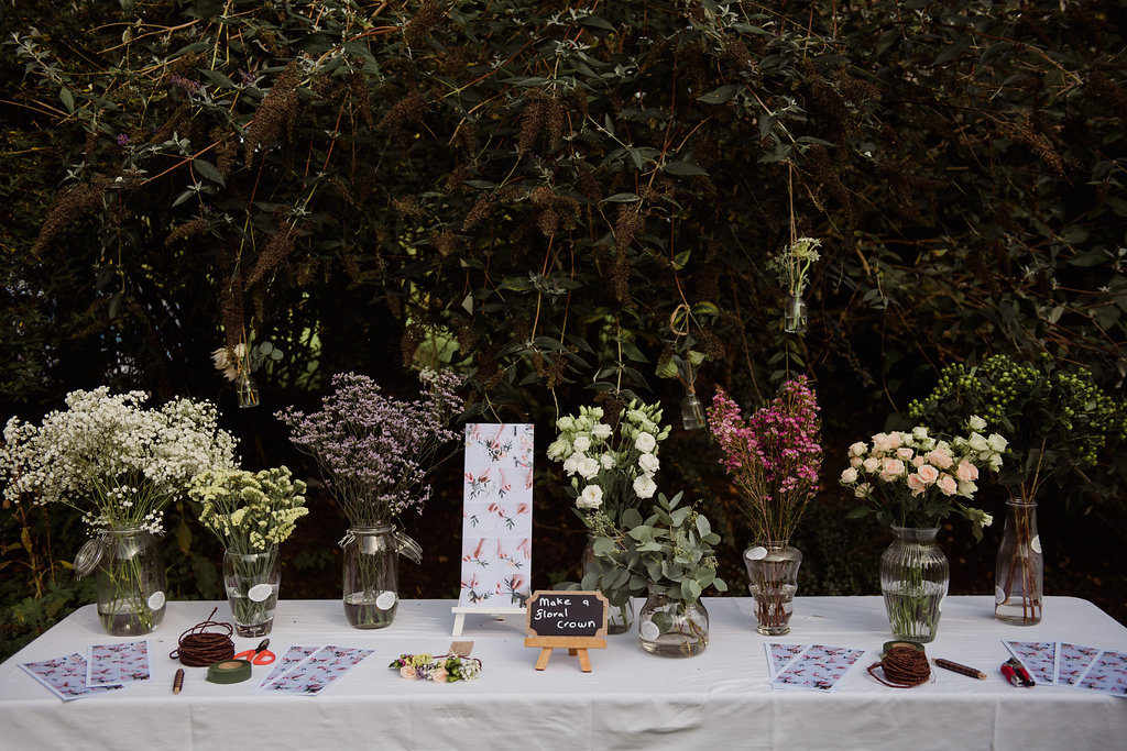 floral crown making station wedding Ireland