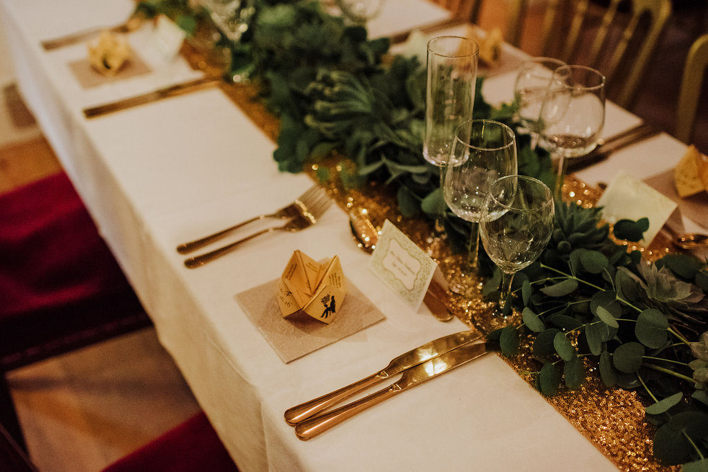 gold glitter wedding table Ireland