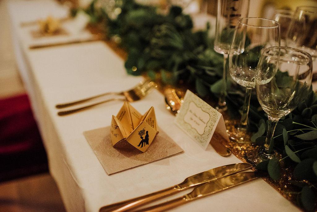 fun golf and glitter wedding table destination wedding Ireland