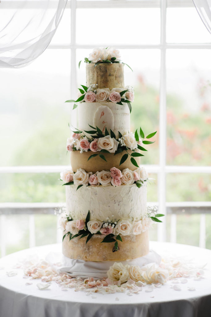 wedding cake with cheese soft pink 5 tier stacked cake Irish Cathedral wedding