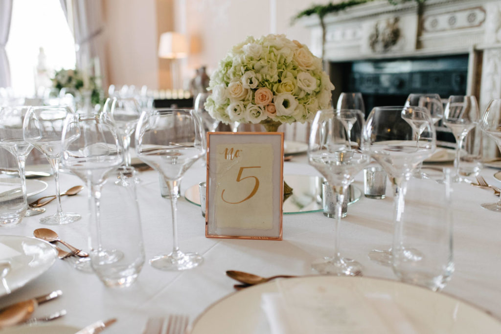 rose gold wedding table accents