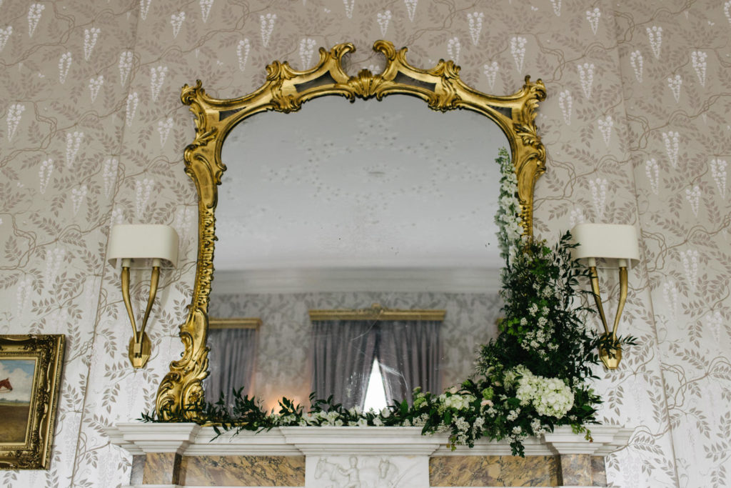 wedding fireplace one sided garland