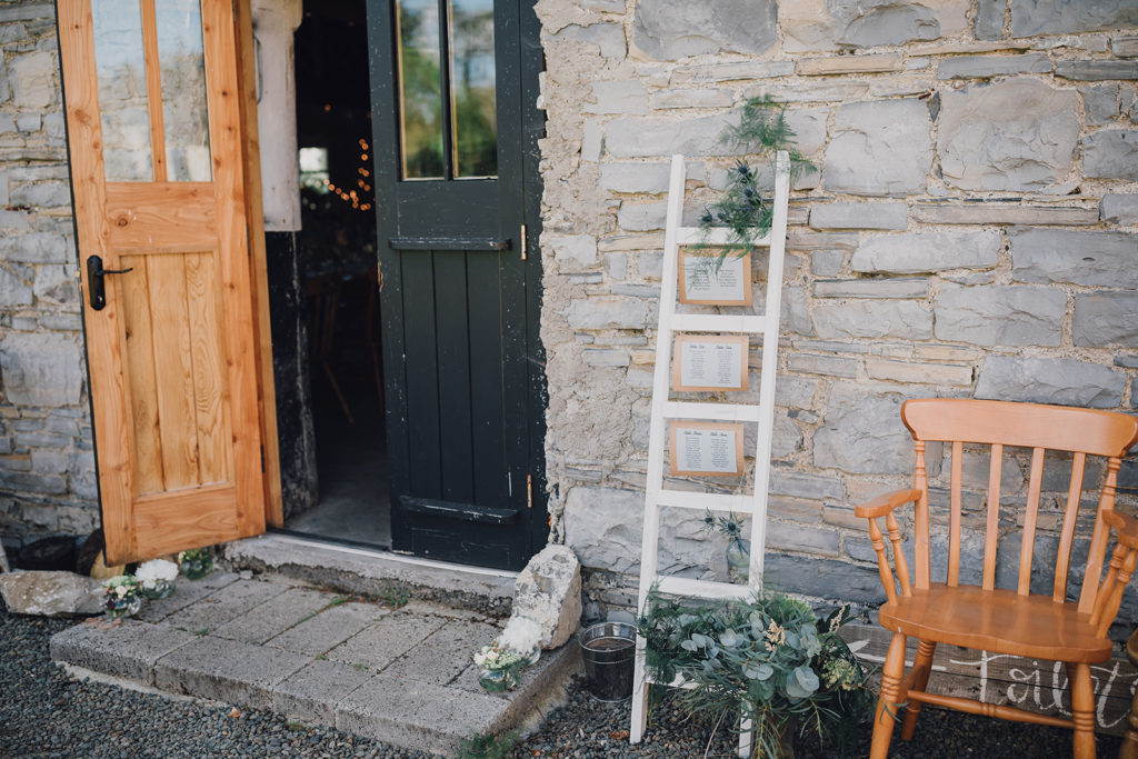 rustic ladder table plan Destination wedding barn Ireland AislinnEvents.com