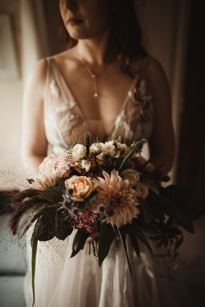 Family Fun in Glengarriff elopetoireland.com bride with wedding bouquet